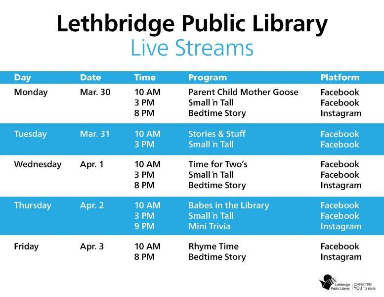 Library live streams - mar 30 - apr 3